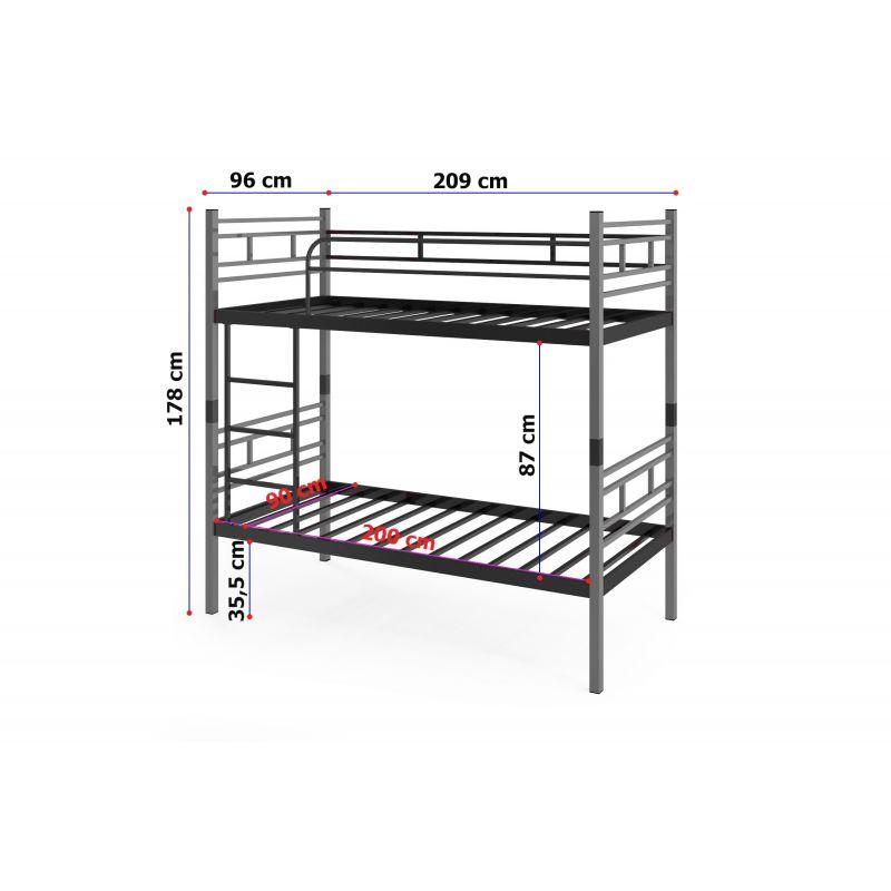 VINI metalowe łóżko piętrowe rozstawne